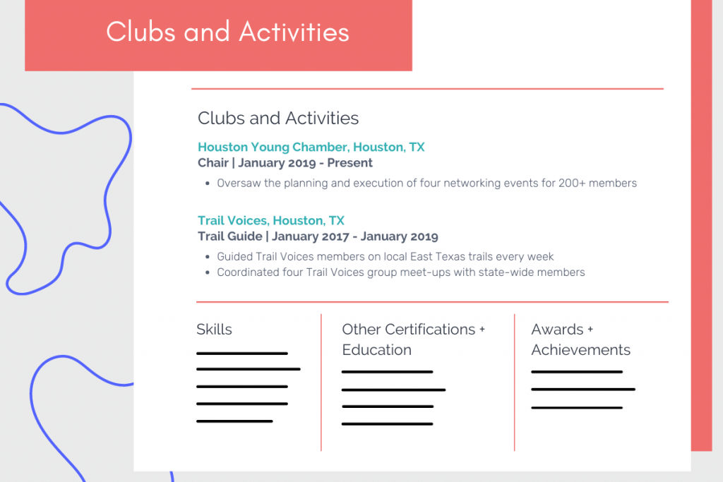 clubs and activities on resume example