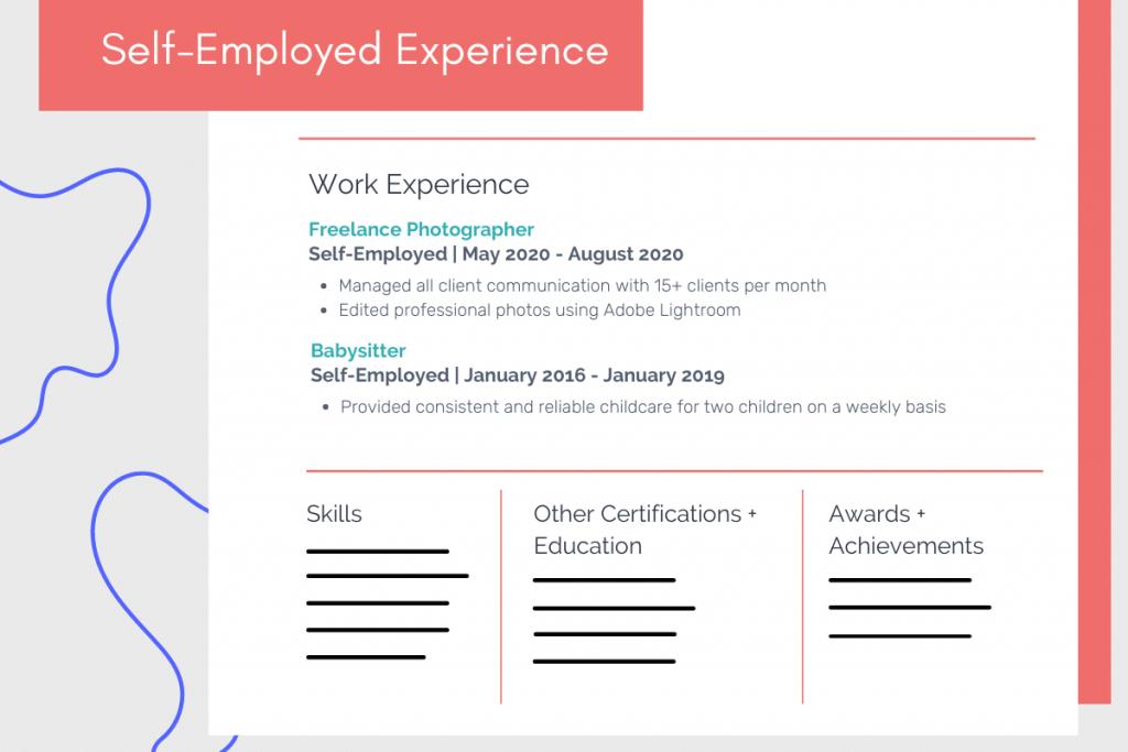 self-employed experience on resume example