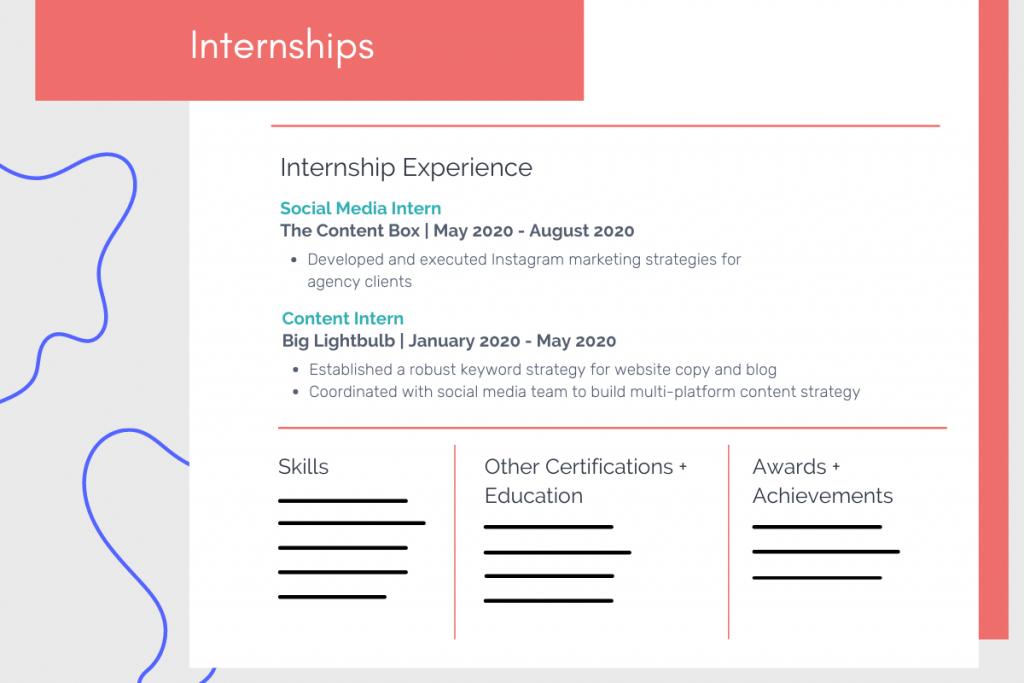 internships on resume example